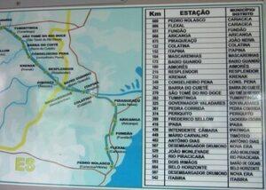 Mapa das estações do trem